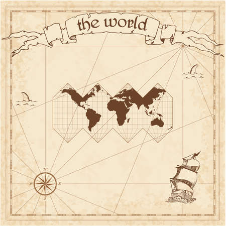 World pirate map. Ancient style navigation atlas. HEALPix projection. Old map vector.