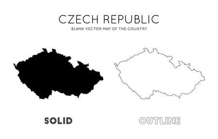 Mappa della Repubblica ceca. Mappa vettoriale vuota del Paese. Confini della Repubblica Ceca per la tua infografica. Illustrazione vettoriale. Vettoriali