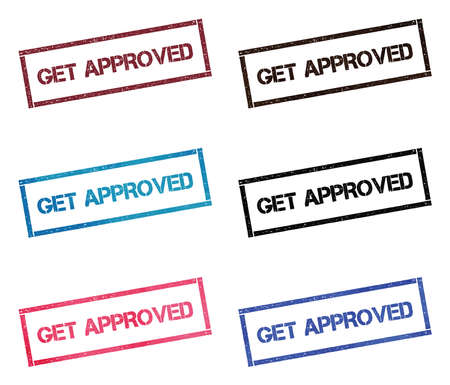 Get approved rectangular stamp collection. Textured seals with text isolated on white backgound. Stamps in turquoise, red, blue, black and sepia colors. Ilustração