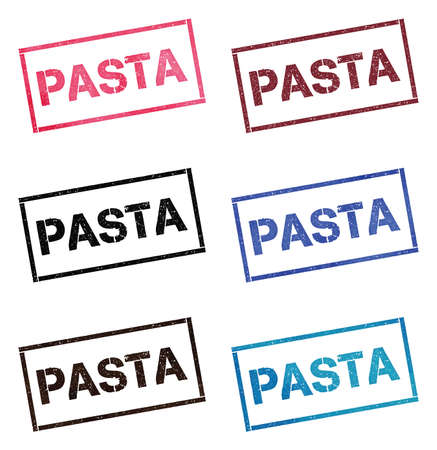 Pasta rectangular stamp collection. Textured seals with text isolated on white backgound. Stamps in turquoise, red, blue, black and sepia colors.
