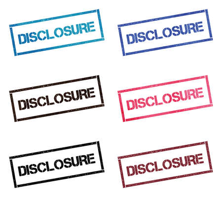 Disclosure rectangular stamp collection. Textured seals with text isolated on white backgound. Stamps in turquoise, red, blue, black and sepia colors.