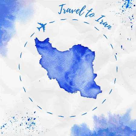 Iran watercolor map in blue colors. Travel to Iran poster with airplane trace and handpainted watercolor Iran map on crumpled paper. Vector illustration.