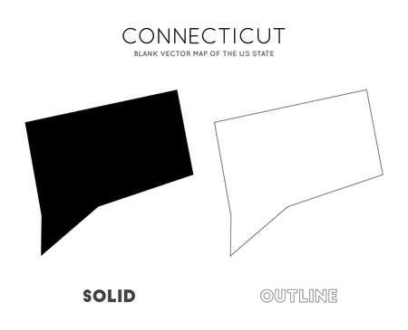 Connecticut map. Blank vector map of the Us State. Borders of Connecticut for your infographic. Vector illustration.  イラスト・ベクター素材