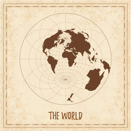 Old world map. Airys minimum-error azimuthal projection. Medieval style treasure map. Ancient land navigation atlas. Vector illustration.