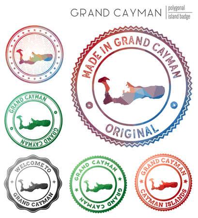 Grand Cayman badge. Colorful polygonal island symbol. Multicolored geometric Grand Cayman set