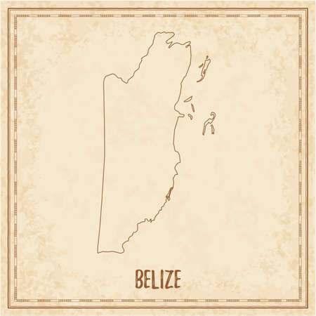 Pirate Map Of Belize. Blank Vector Map Of The Country ...