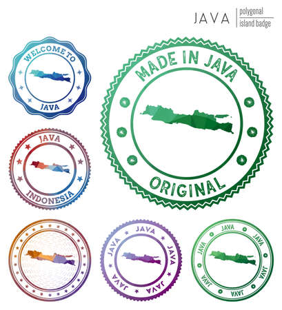 Java badge. Colorful polygonal island symbol. Multicolored geometric Java set. Vector illustration.