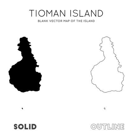 Tioman Island map. Blank vector map of the Island. Borders of Tioman Island for your infographic. Vector illustration.