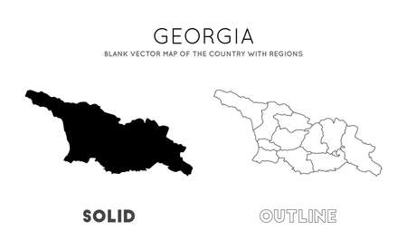 Georgia map. Blank vector map of the Country with regions. Borders of Georgia for your infographic. Vector illustration.