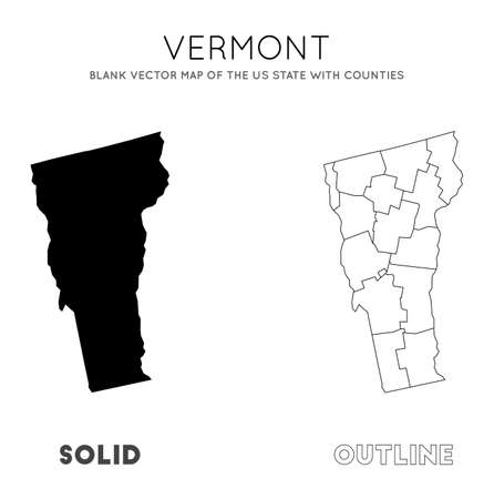 Vermont map. Blank vector map of the Us State with counties. Borders of Vermont for your infographic. Vector illustration.  イラスト・ベクター素材