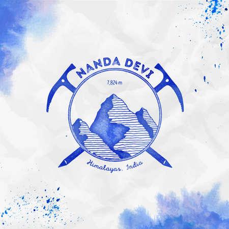 Climbing mountain blue vector insignia. Nanda Devi in Himalayas, India outdoor adventure illustration. 일러스트