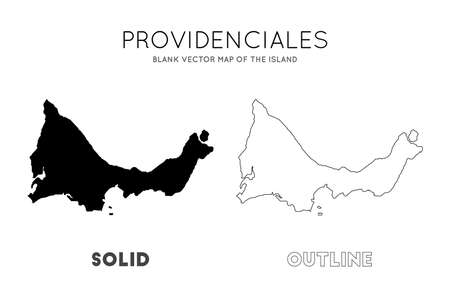 Providenciales map. Blank vector map of the Island. Borders of Providenciales for your infographic. Vector illustration.
