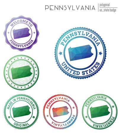 Pennsylvania badge. Colorful polygonal us state symbol. Multicolored geometric Pennsylvania set. Vector illustration.