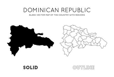 Dominicana map. Blank vector map of the Country with regions. Borders of Dominicana for your infographic. Vector illustration. Иллюстрация