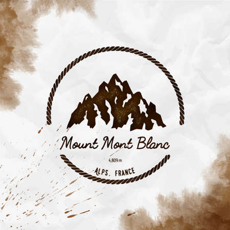 Round hiking sepia vector insignia. Mont Blanc in Alps, Italy outdoor adventure illustration. Climbing, trekking, hiking, mountaineering and other extreme activities watercolor Illustration