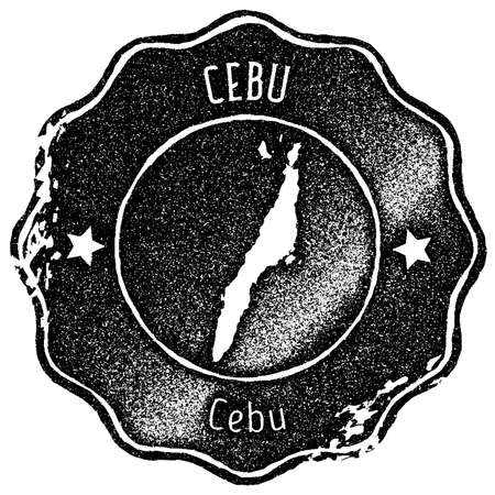 Cebu map vintage stamp. Retro style handmade label, badge or element for travel souvenirs. Black rubber stamp with island map silhouette. Vector illustration.