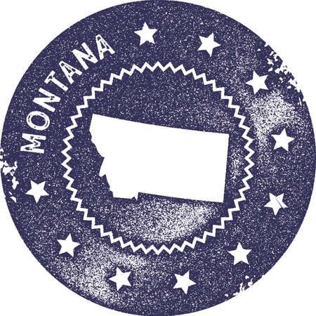 Montana map vintage stamp. Retro style handmade label, badge or element for travel souvenirs. Deep purple rubber stamp with us state map