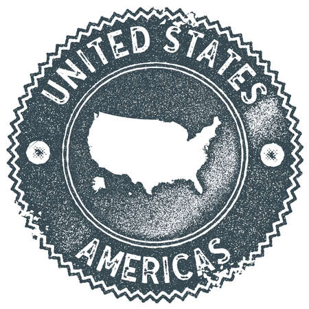 USA map vintage stamp. Retro style handmade label, badge or element for travel souvenirs. Dark blue rubber stamp with country map