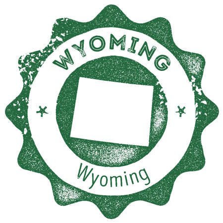 Wyoming map vintage stamp. Retro style handmade label, badge or element for travel souvenirs. Dark green rubber stamp with us state map