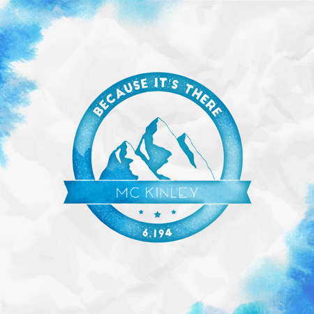 Round climbing turquoise vector insignia. McKinley in Alaska, USA outdoor adventure illustration. Иллюстрация