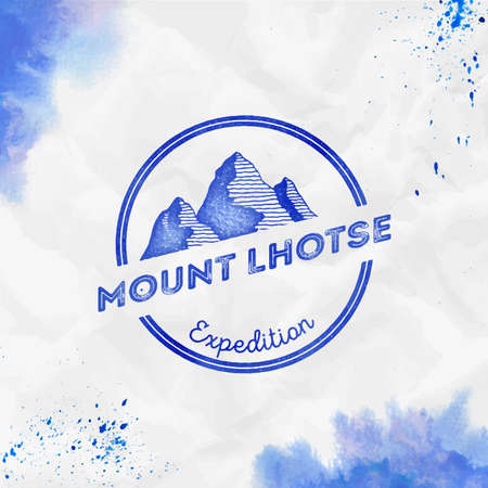 Round expedition blue vector insignia. Lhotse in Himalayas, Nepal outdoor adventure illustration. Climbing, trekking, hiking, mountaineering and other extreme activities template.