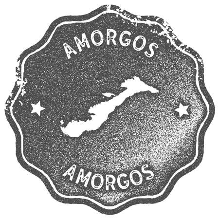 Amorgos map vintage stamp. Retro style handmade label, badge or element for travel souvenirs. Grey rubber stamp with island map