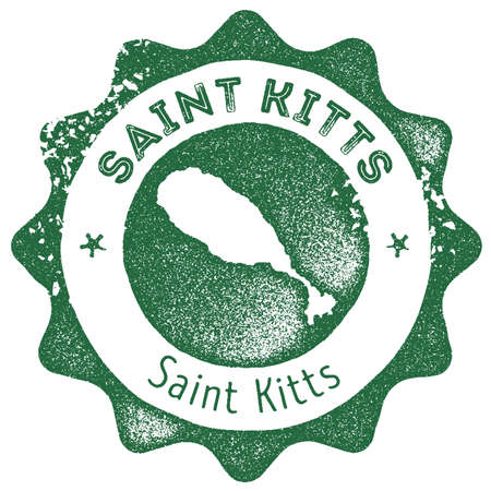 Saint Kitts map vintage stamp. Retro style handmade label, badge or element for travel souvenirs. Dark green rubber stamp with island map  イラスト・ベクター素材