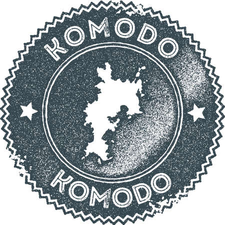 Komodo map vintage stamp. Retro style handmade label, badge or element for travel souvenirs. Dark blue rubber stamp with island map Illustration