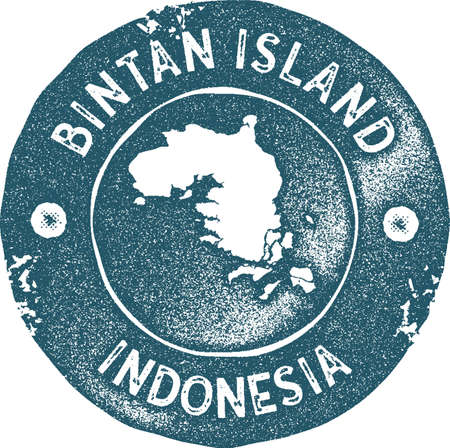 Bintan Island map vintage stamp. Retro style handmade label, badge or element for travel souvenirs. Blue rubber stamp with island map