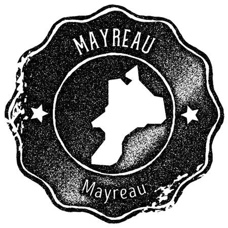 Mayreau map vintage stamp. Retro style handmade label, badge or element for travel souvenirs. Black rubber stamp with island map silhouette. Vector illustration.  イラスト・ベクター素材