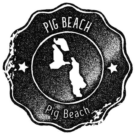 Pig Beach map vintage stamp. Retro style handmade label, badge or element for travel souvenirs. Black rubber stamp with island map silhouette. Vector illustration.