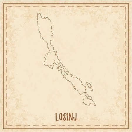 Pirate map of Losinj. Blank vector map of the Island. Vector illustration. Vektorgrafik