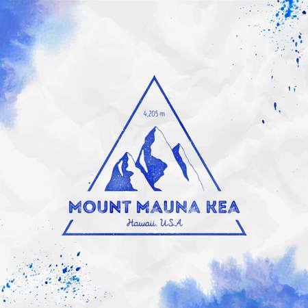 Mauna Kea. Triangular mountain blue vector insignia. Mauna Kea in Hawaii, USA outdoor adventure illustration. Illustration