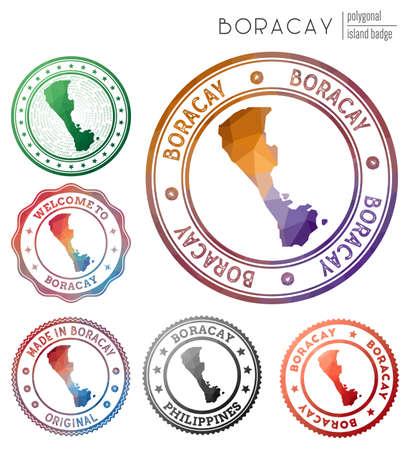 Boracay badge. Colorful polygonal island symbol. Multicolored geometric Boracay set. Vector illustration.