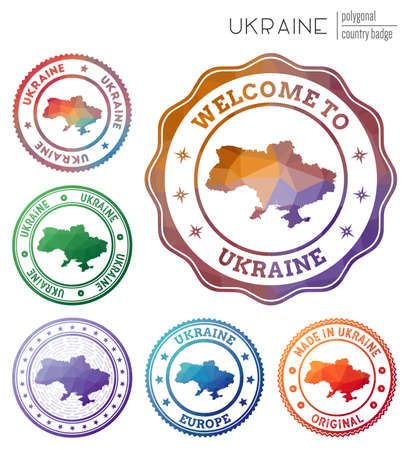Ukraine badge. Colorful polygonal country symbol. Multicolored geometric Ukraine set. Vector illustration.