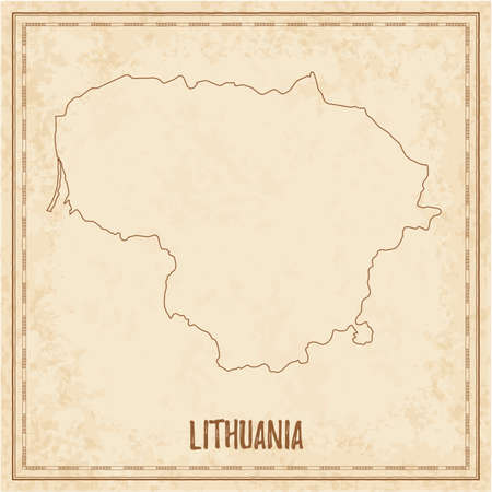 Pirate map of Lithuania. Blank vector map of the Country. Vector illustration. Illustration