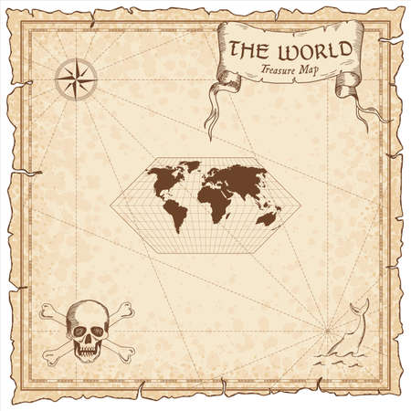 World treasure map. Pirate navigation atlas. Eckert I projection. Old map vector.