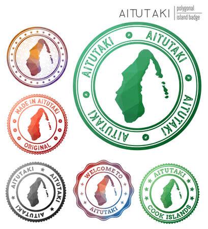 Aitutaki badge. Colorful polygonal island symbol. Multicolored geometric Aitutaki set. Vector illustration.