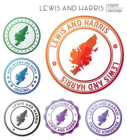 Lewis and Harris badge. Colorful polygonal island symbol. Multicolored geometric Lewis and Harris set. Vector illustration.