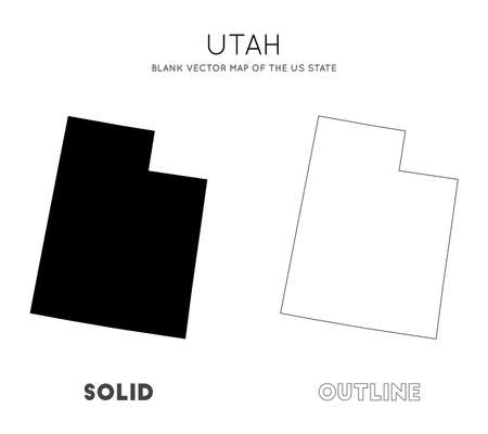 Utah map. Blank vector map of the Us State. Borders of Utah for your infographic. Vector illustration.  イラスト・ベクター素材