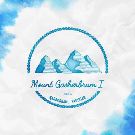 Gasherbrum I. Round trekking turquoise vector insignia. Gasherbrum I in Karakoram, Pakistan outdoor adventure illustration.