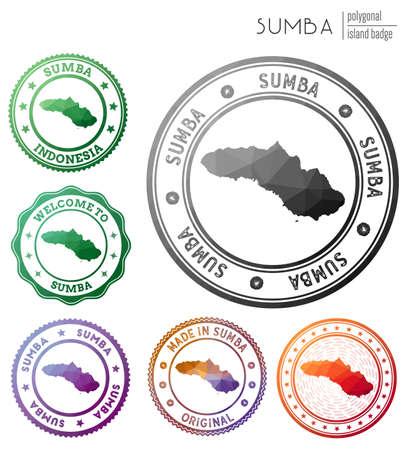 Sumba badge. Colorful polygonal island symbol. Multicolored geometric Sumba set. Vector illustration.