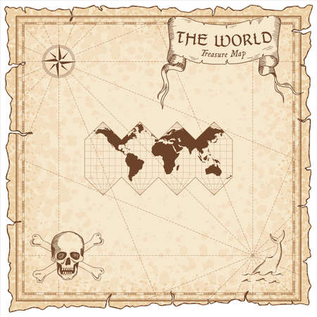 World treasure map. Pirate navigation atlas. HEALPix projection. Old map vector.