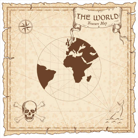 World treasure map. Pirate navigation atlas. Gnomonic projection. Old map vector.