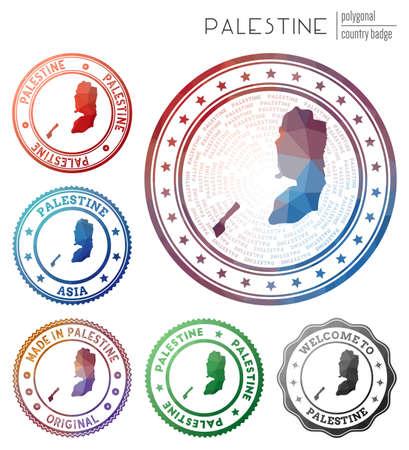Palestine badge. Colorful polygonal country symbol. Multicolored geometric Palestine set. Vector illustration. Illustration