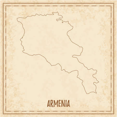 Pirate map of Armenia. Blank vector map of the Country. Vector illustration.