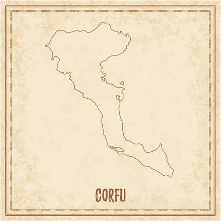 Pirate map of Corfu. Blank vector map of the Island. Vector illustration.