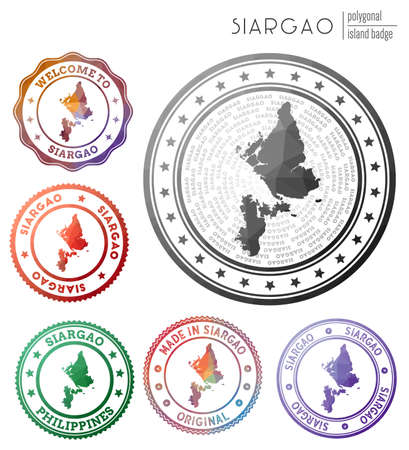 Siargao badge. Colorful polygonal island symbol. Multicolored geometric Siargao set. Vector illustration.
