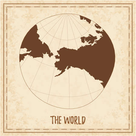 Old world map. Modified stereographic projection for Alaska. Medieval style treasure map. Ancient land navigation atlas. Vector illustration.
