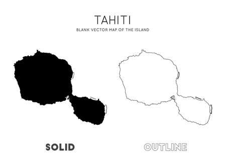 Tahiti map. Blank vector map of the Island. Borders of Tahiti for your infographic. Vector illustration.